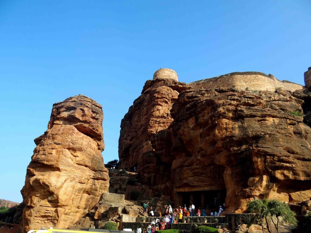 Badami,rock cut cave temples,India,Karnataka,sculpture,carvings,entrance