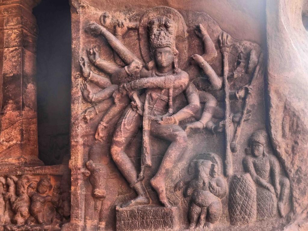Badami,rock cut cave temples,India,Karnataka,sculpture,carvings,Lord Shiva,dancer