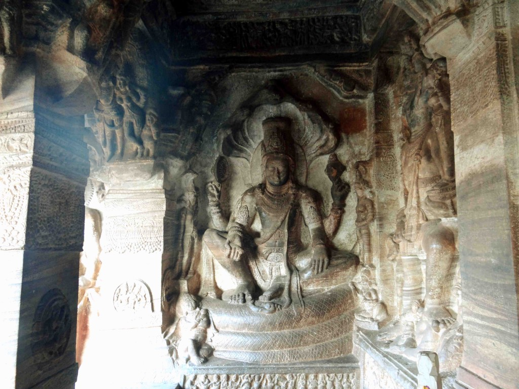 Badami,rock cut cave temples,India,Karnataka,sculpture,carvings,Lord Vishnu